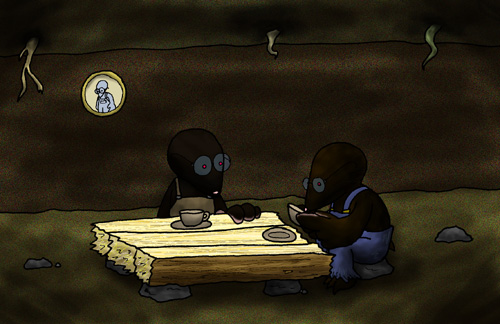 A pair of moles, having afternoon tea.